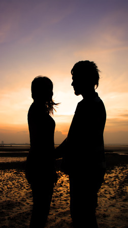 silhouette couple in love photo