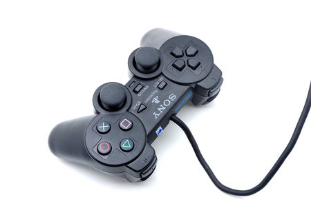 sony: PAHANG; MALAYSIA-Dec 27; 2013: Photo of a sony playstation joystick or game controller, isolated on white Editorial