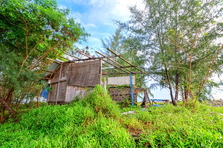 abandned and ruined wooden house photo