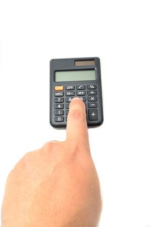 teclado numerico: Calculadora con dedo aislado en blanco