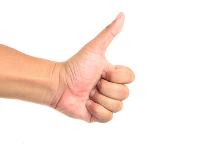 Thumb up hand signs isolated on white with a copy space photo