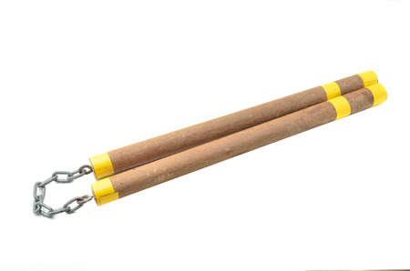 nunchaks: DIY Nunchaku isolated on white background