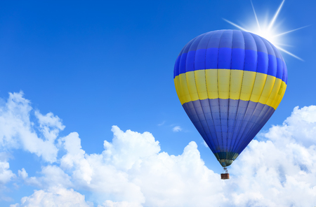 Colorful Hot Air Balloons in Flight over blue sky.  photo