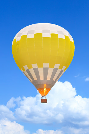 Colorful Hot Air Balloons in Flight over blue sky. Soft focus photo
