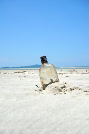 castaway: Bottle on a sand beach