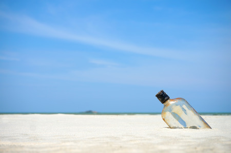 Bottle on a sand beach