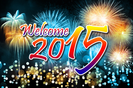 Happy New Year 2015 with colorful fireworks