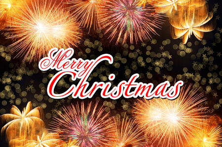 decoratio: Merry Christmas with Colorful fireworks