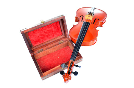 bout: Violin with wooden box isolated on white background. Music concept