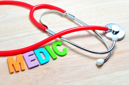 medic: The name of the medical term, Medic and stethoscope
