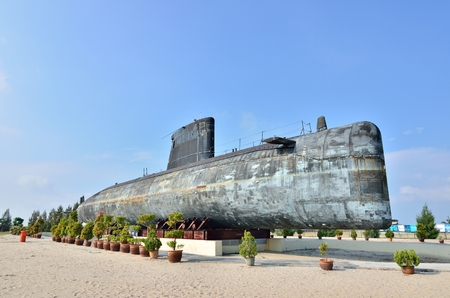 1malaysia: MALACCA, MALAYSIA-AUG 2: A decommissioned Royal Malaysian Navy submarine Agusta 70 on August 2, 2015. The submarine was built in 1979 and converted into museum submarine since November 22, 2011.