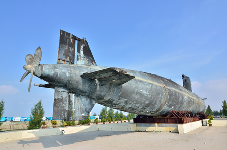 1malaysia: MALACCA, MALAYSIA-AUG 2: A decommissioned Royal Malaysian Navy submarine Agusta 70 on August 2, 2015. The submarine was built in 1979 and converted into museum submarine since November 22, 2011 in Malacca, Malaysia.