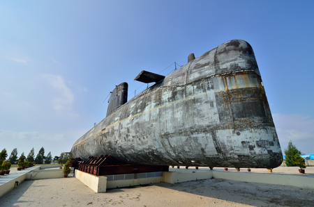 converted: MALACCA, MALAYSIA-AUG 2: A decommissioned Royal Malaysian Navy submarine Agusta 70 on August 2, 2015. The submarine was built in 1979 and converted into museum submarine since November 22, 2011 in Malacca, Malaysia.