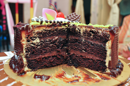 chocolaty: Sliced chocolate layer cake on a platter
