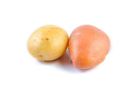 yello: Pink and Yello Clean Potato isolated on white background