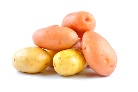 eyespot: Pink and Yello Clean Potato isolated on white background