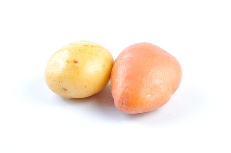 eyespot: Pink and Yellow Clean Potato isolated on white background