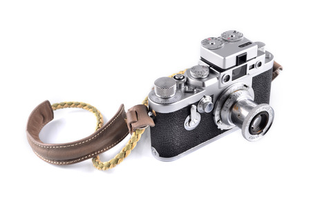 MALACCA, MALAYSIA - NOVEMBER 7, 2015: Illustrative Editorial Photo of Leica Leitz Elmar 50mm F3.5, isolated on white background. Leica is one of the worlds iconic and most desirable camera brands.