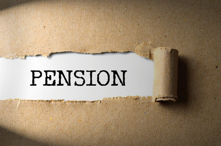 Torn paper with word Pension