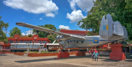 MALACCA, MALAYSIA - 5 MARCH : Visitors view historic aircraft on March 5, 2016 at Melaka, Malaysia. Airplane used by first Prime Minister of Malaysia in 1954 to seek independence for Malaya Editorial