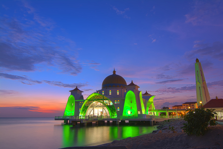 dome of the rock: Beautiful sunset of Malacca Straits Mosque, Malaysia. Nature composition.