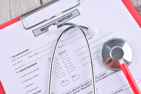 take a history: Medical Report with Shethoscope. Medical and Healhcare Concept Stock Photo