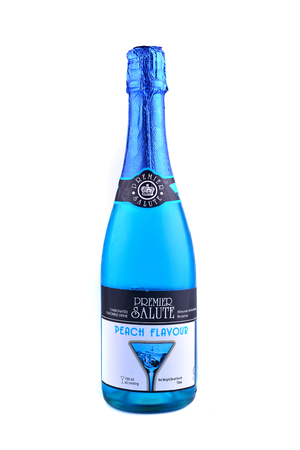 premier: MALACCA, MALAYSIA - April 24, 2016: Bottle of Blue Peach Flavour Edition, Sparkling Water.
