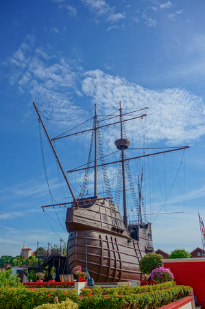 museum visit: MALACCA - SEPTEMBER 17: Replica of the Portuguese ship, now used as a maritime museum in Malacca, Malaysia on September 17, 2016. A must visit 6 floors high impressive ship, known as a carrack or Nau Editorial