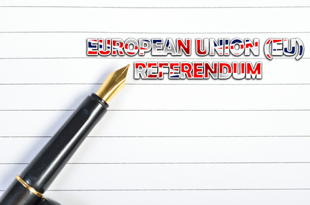 yes or no to euro: Notebook and pen with word European Union (EU) Referendum Stock Photo
