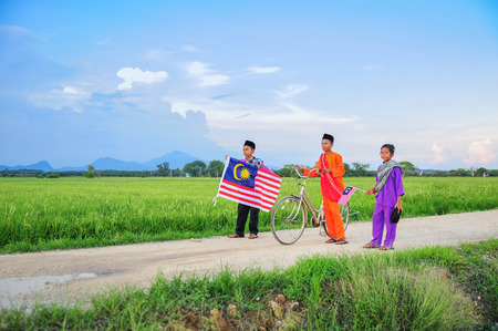 Independence Day concept - Three happy young local boy walking at paddy field holding a Malaysian flag Stock Photo