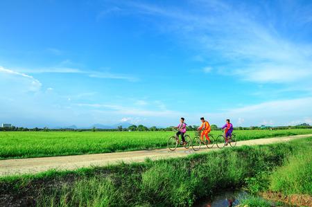gelukkige jonge lokale jongen die oude fiets berijdt bij padiegebied