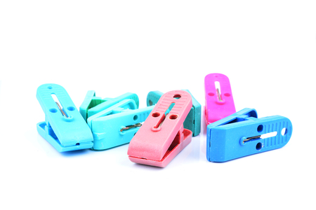 clothespeg: Clothes-peg collection. Set of plastic colorful clothespin isolated on white background