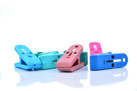 clothespin: Clothes-peg collection. Set of plastic colorful clothespin isolated on white background