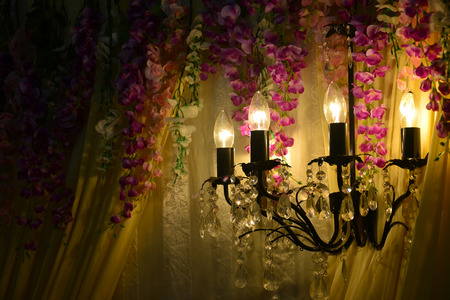 chandelier background: Luxury Glass Chandelier on bridal malay wedding background Stock Photo