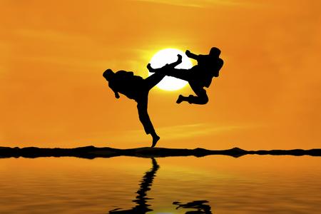 chuan: Fighting an enemy near the beach when the sun goes down Stock Photo