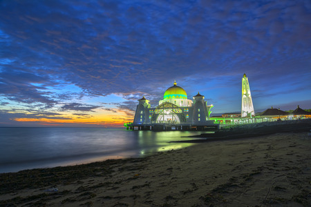 straits: Sunset moments at Malacca Straits Mosque ( Masjid Selat Melaka), It is a mosque located on the man-made Malacca Island near Malacca Town, Malaysia