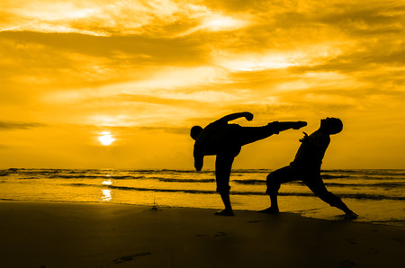 chuan: Fighting an enemy near the beach when the sun rising up