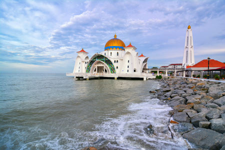 islamic scenery: Morning view at Malacca Straits Mosque ( Masjid Selat Melaka), It is a mosque located on the man-made Malacca Island near Malacca Town, Malaysia