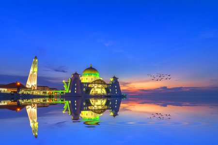 straits: Malacca Straits Mosque ( Masjid Selat Melaka), It is a mosque located on the man-made Malacca Island near Malacca Town, Malaysia