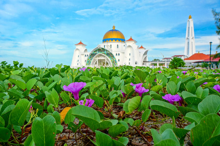 Morning view at Malacca Straits Mosque ( Masjid Selat Melaka), It is a mosque located on the man-made Malacca Island near Malacca Town, Malaysia