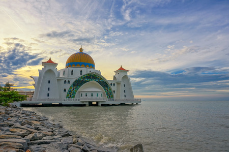 Sunrise moments at Malacca Straits Mosque ( Masjid Selat Melaka), It is a mosque located on the man-made Malacca Island near Malacca Town, Malaysia