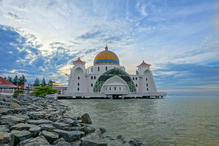 straits: Sunrise moments at Malacca Straits Mosque ( Masjid Selat Melaka), It is a mosque located on the man-made Malacca Island near Malacca Town, Malaysia