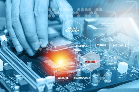 vga: Montaje de alto rendimiento ordenador personal. Concepto de la educación en línea