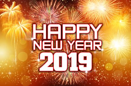 Feliz Ano Nuevo 2019 Con Coloridos Fuegos Artificiales Fotos