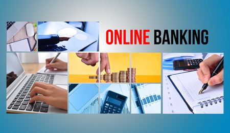 ONLINE BANKING text with collage images