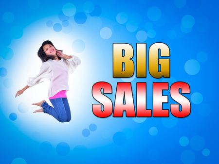 BIG SALES Concept with women jumping