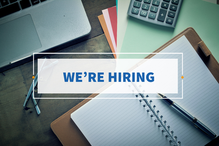 were: Notebook and Laptop with text WERE HIRING