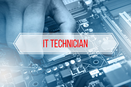 it technician: Computer Concept with text IT TECHNICIAN