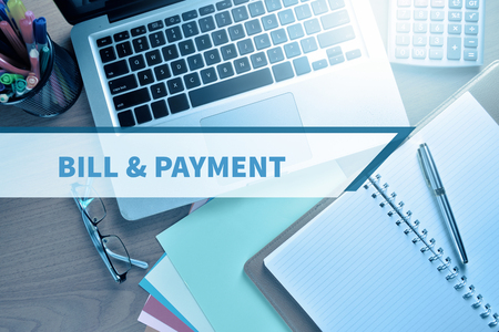 bill payment: Notebook and Laptop with text BILL & PAYMENT
