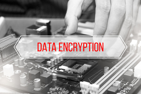 Computer Concept with text DATA ENCRYPTION